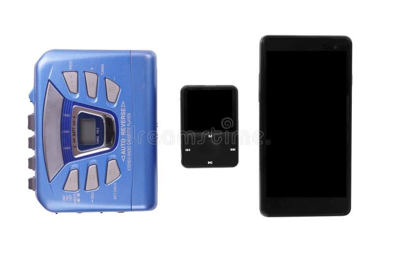 随身听录音机MP3播放器和巧妙的电话 图库摄影