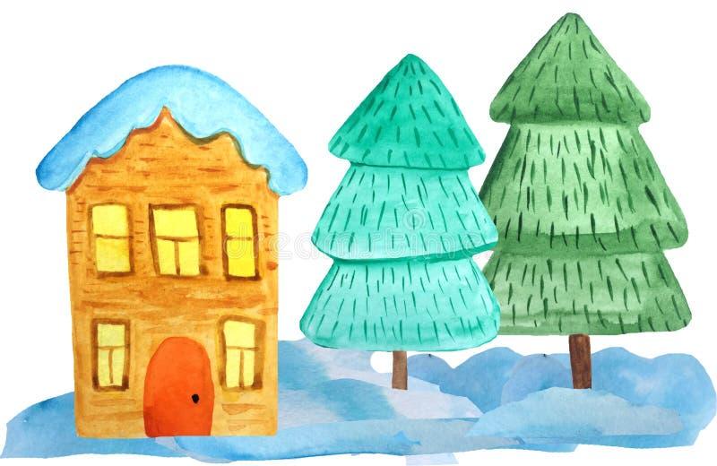随风飘飞的雪的舒适两层圣诞节房子和在白色背景的一棵树 海报的,横幅水彩例证 库存图片