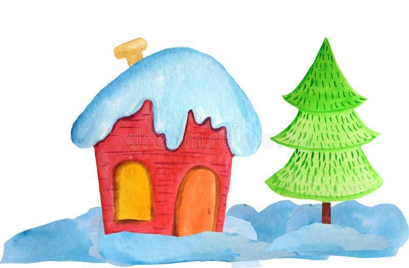 随风飘飞的雪的舒适红色圣诞节房子和在白色背景的一棵树 海报的,横幅水彩例证 ? 免版税库存照片