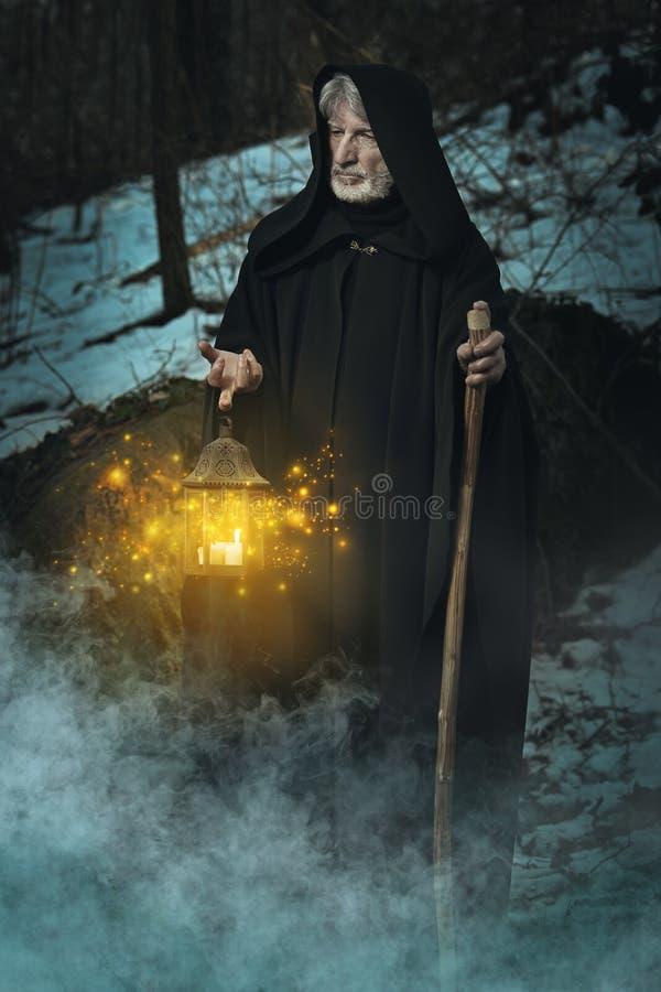隐士在黑暗的森林里 免版税库存照片