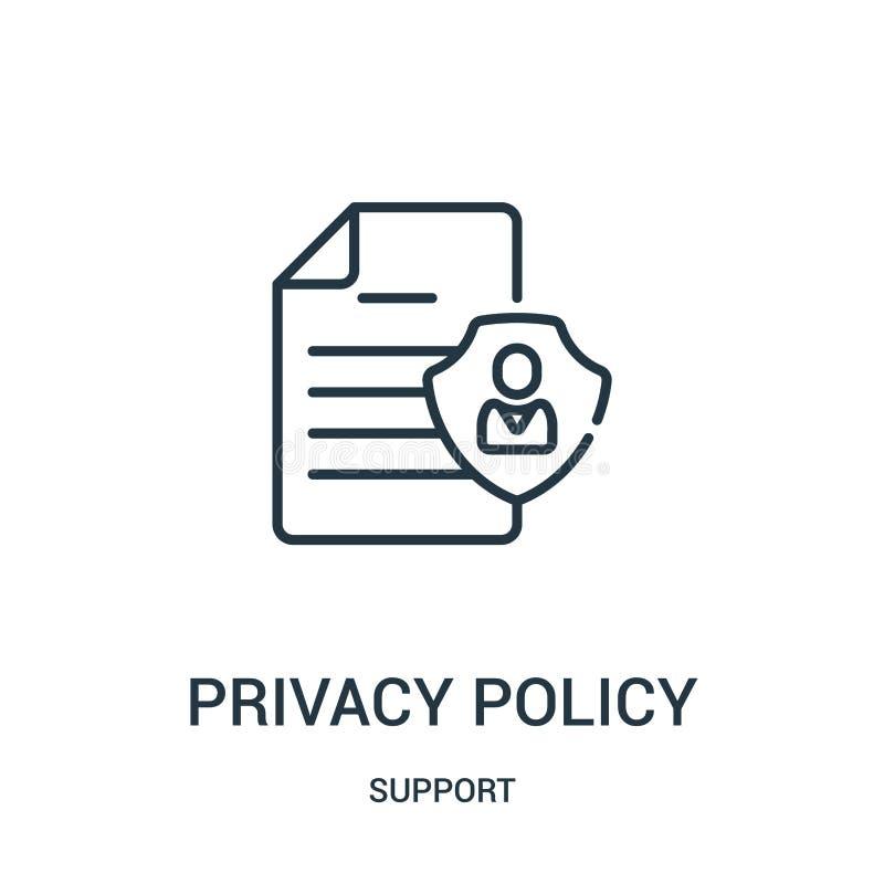 隐私权政策从支持汇集的象传染媒介 稀薄的线隐私权政策概述象传染媒介例证 线性标志为 库存例证