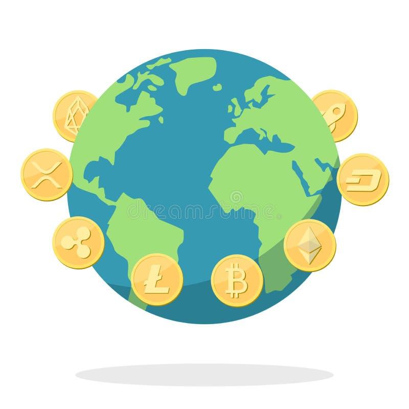 隐藏在地球附近的货币金黄硬币 向量例证