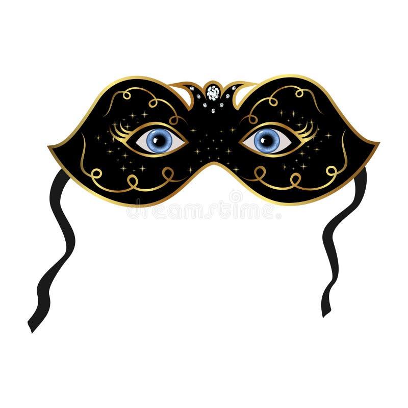 隐藏的蓝眼睛屏蔽戏剧下 库存例证