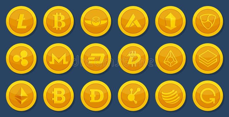 隐藏货币不同的硬币  真正电子货币 在动画片样式的Bitcoin图片 库存例证