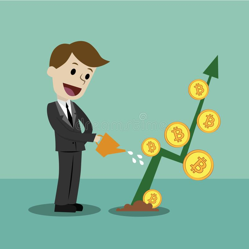 隐藏货币市场 寻找Bitcoins的成长曲线图商人 免版税库存照片