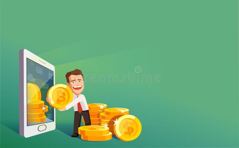 隐藏货币技术, bitcoin交换,流动银行业务平的现代设计  拉出智能手机bitcoins的商人 皇族释放例证