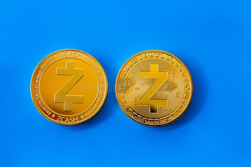 隐藏货币硬币zcash前面和后部 免版税图库摄影