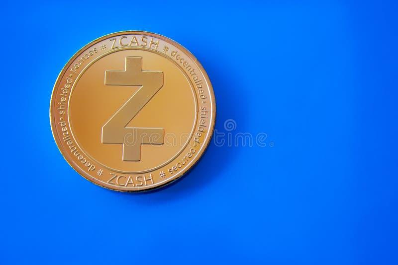 隐藏货币金币zcash的前方 库存照片