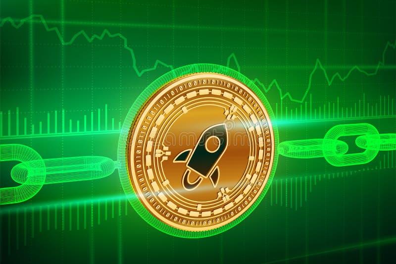 隐藏货币 块式链 星 3D与wireframe链子的等量物理金黄星硬币 Blockchain概念 editabl 皇族释放例证
