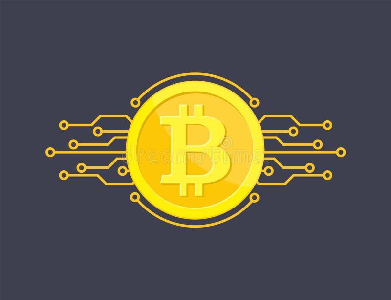 隐藏货币bitcoin 向量例证