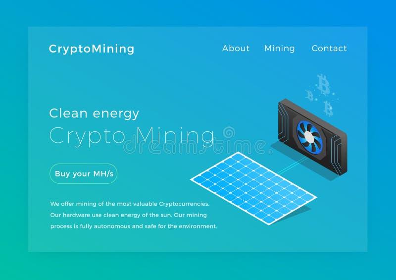 隐藏采矿 清洁能源cryptocurrency矿工概念等量传染媒介例证 着陆页设计 皇族释放例证