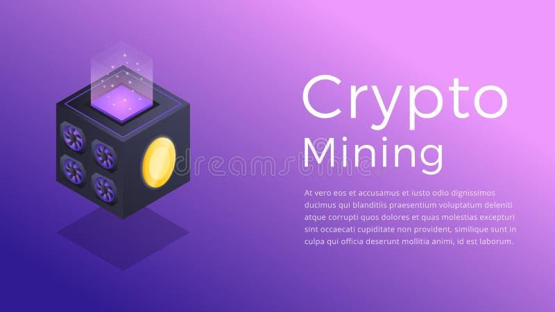 隐藏采矿 Cryptocurrency矿工的等量例证 隐藏采矿业概念 库存例证