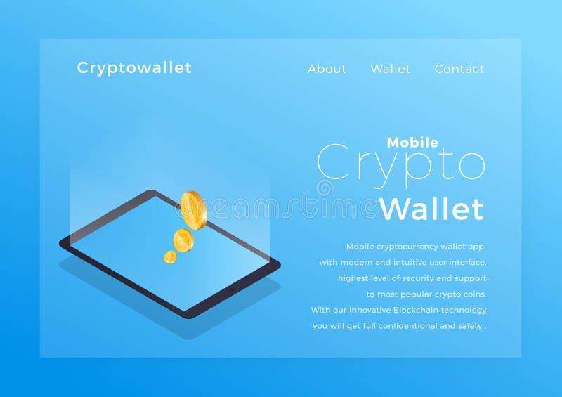 隐藏钱包等量例证 Cryptocurrency流动存贮app概念 向量例证
