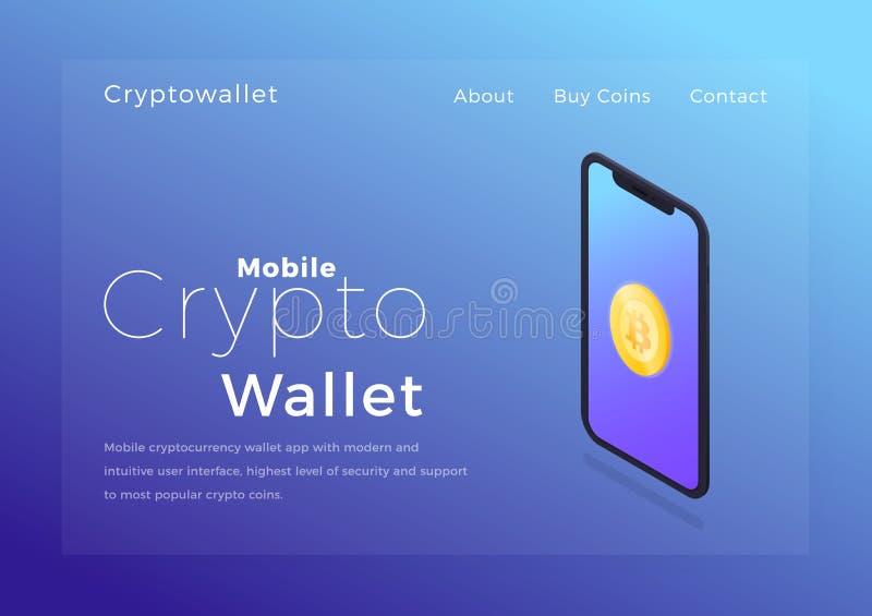 隐藏钱包等量例证 Cryptocurrency流动存贮app概念 库存例证