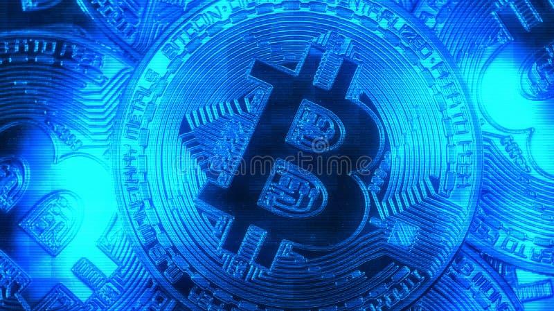 隐藏货币金子Bitcoin - BTC -位硬币 宏观射击隐藏货币Bitcoin硬币 Holomatrix样式蓝色 库存图片