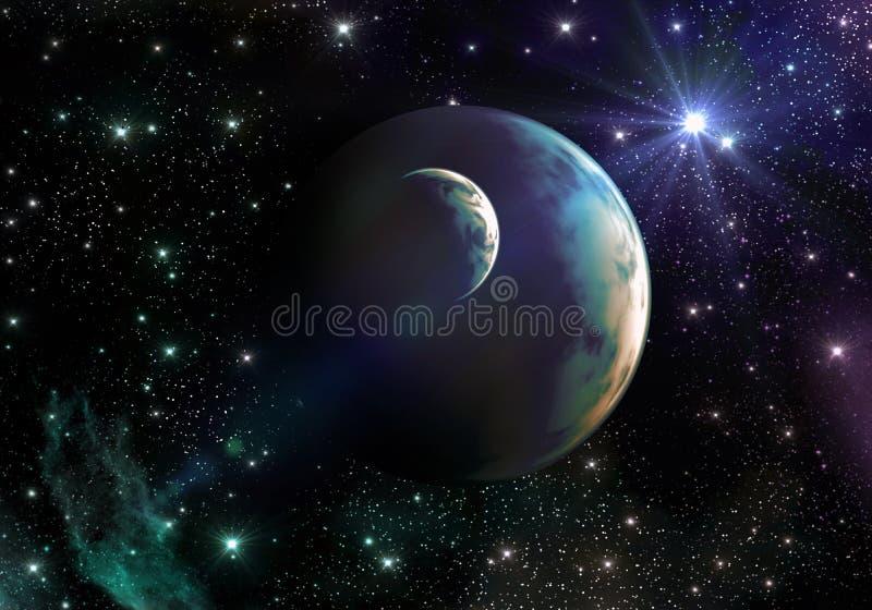 在空间的类似地球的行星与星和星云 免版税库存照片