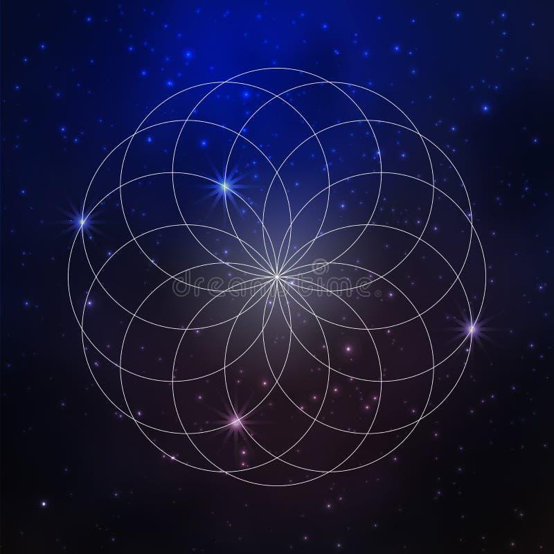 间隔与星的背景和神圣的几何样式,生活花  向量例证