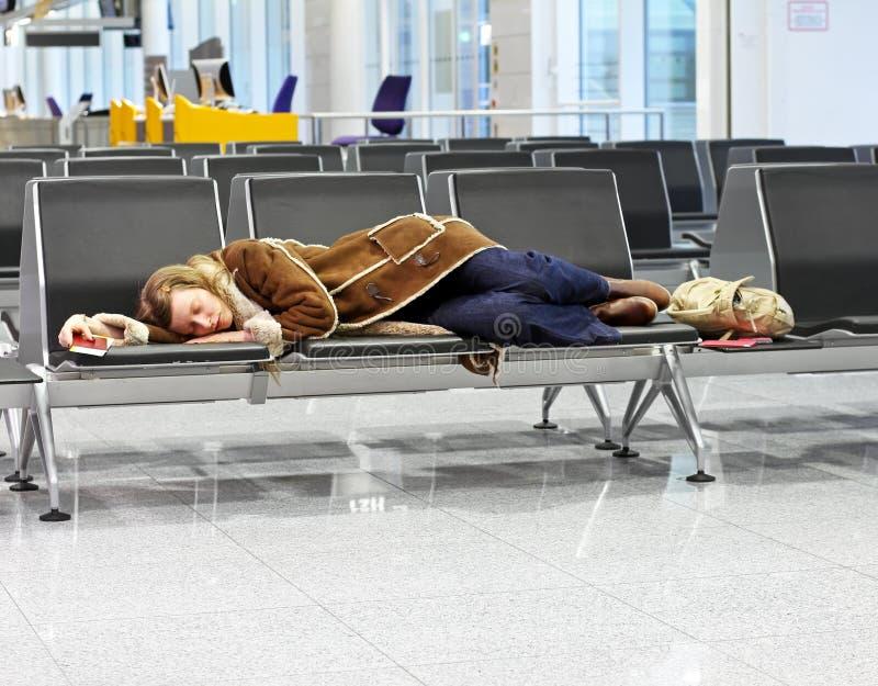 隔夜机场 免版税库存照片