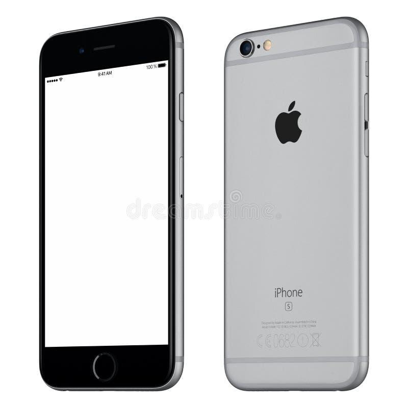 间隔有一点顺时针被转动的灰色苹果计算机iPhone 6S大模型 免版税图库摄影