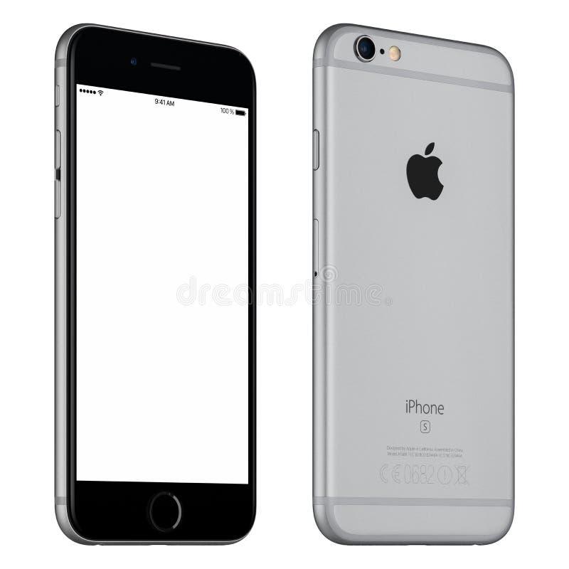 间隔灰色苹果计算机iPhone 6S大模型有一点被转动的正面图 免版税库存图片