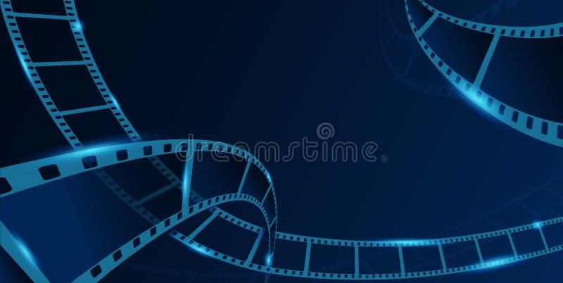 隔离在蓝色背景上的收集胶片条框 带条卷的旧电影横幅 艺术设计卷轴电影胶片 向量例证