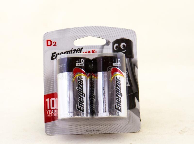 隔离通电器D2大小的电池 免版税图库摄影