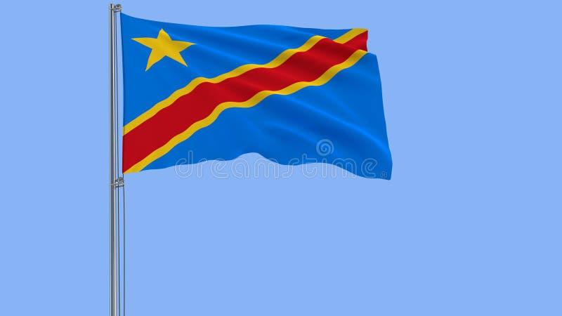 隔绝刚果民主共和国的旗子振翼在蓝色背景的风的旗杆的, 3d翻译 库存图片