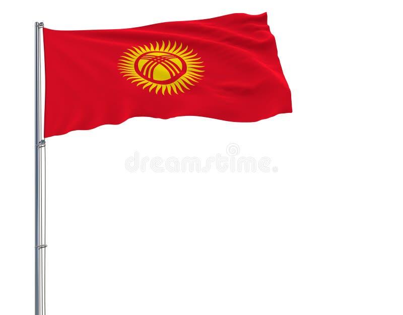 隔绝吉尔吉斯斯坦的旗子振翼在白色背景的风的旗杆的, 3d翻译 向量例证