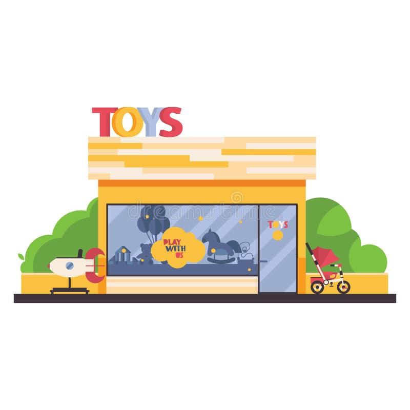 隔绝在与孩子玩具的白色商店前面购物 在前面,绿叶,儿童trike的自动贩卖机火箭 向量例证