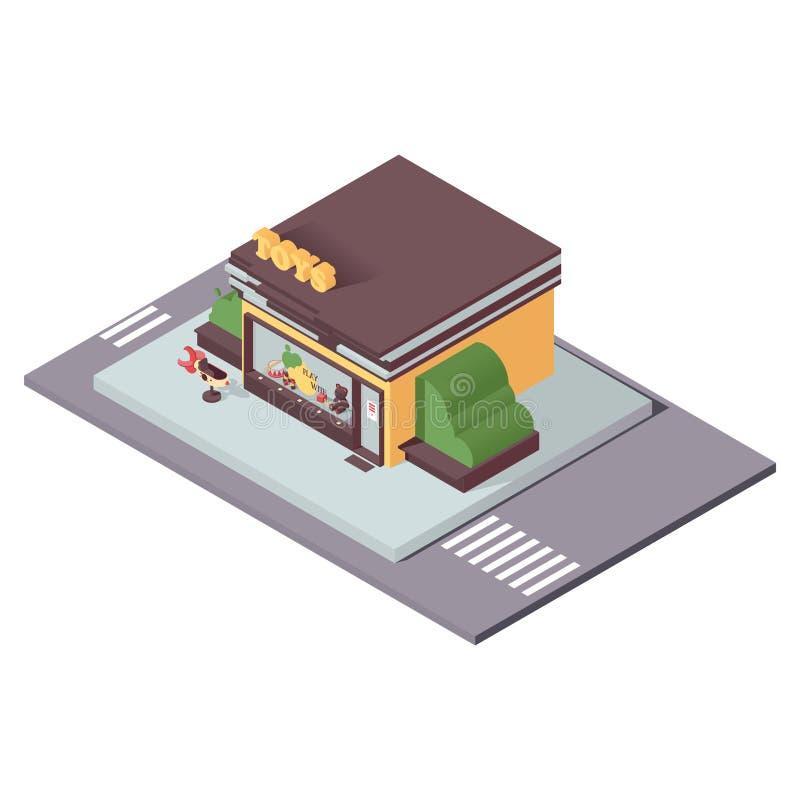 隔绝在等量样式的白色孩子玩具店 3d小企业和百货店的概念例证 皇族释放例证