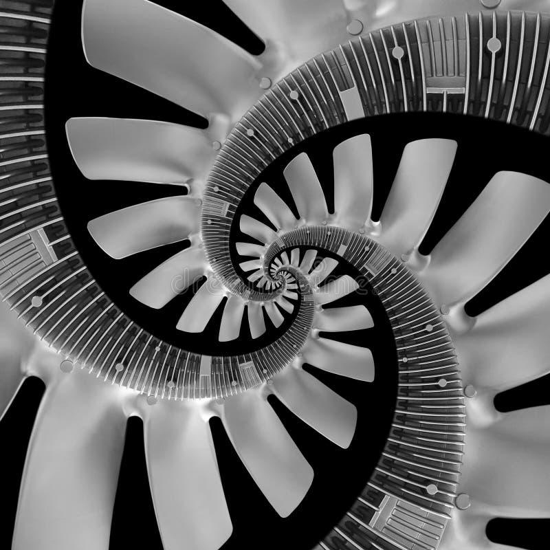 隔绝在黑抽象螺旋分数维由卡车柴油引擎爱好者银空气螺旋桨制成 螺旋背景样式发动机风扇 皇族释放例证