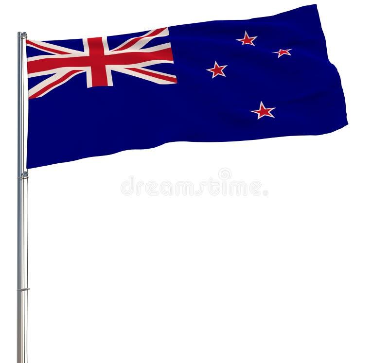 隔绝新西兰的旗子振翼在白色背景的风的旗杆的, 3d翻译 库存图片