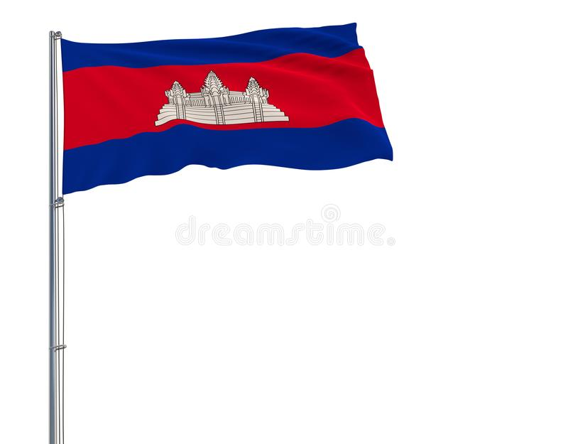 隔绝柬埔寨的旗子振翼在白色背景的风的旗杆的, 3d翻译 向量例证