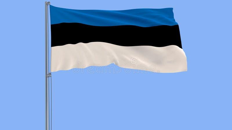 隔绝爱沙尼亚的旗子振翼在蓝色背景的风的旗杆的, 3d翻译 皇族释放例证