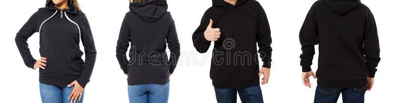 隔绝的女性和男性有冠乌鸦嘲笑-敞篷集合前面和后面看法、女孩和人空的黑套头衫的 免版税库存照片