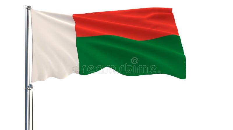 隔绝马达加斯加的旗子振翼在白色背景的风的旗杆的, 3d翻译 向量例证