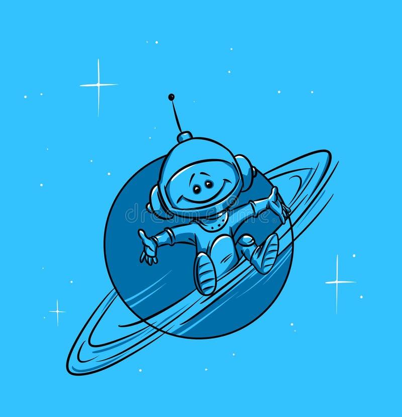 空间行星土星和宇航员 皇族释放例证