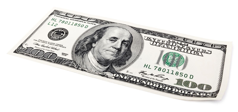 隔绝100个US$比尔 免版税库存图片