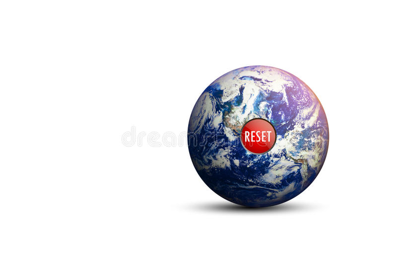 隔绝了地球和复位按钮 库存图片