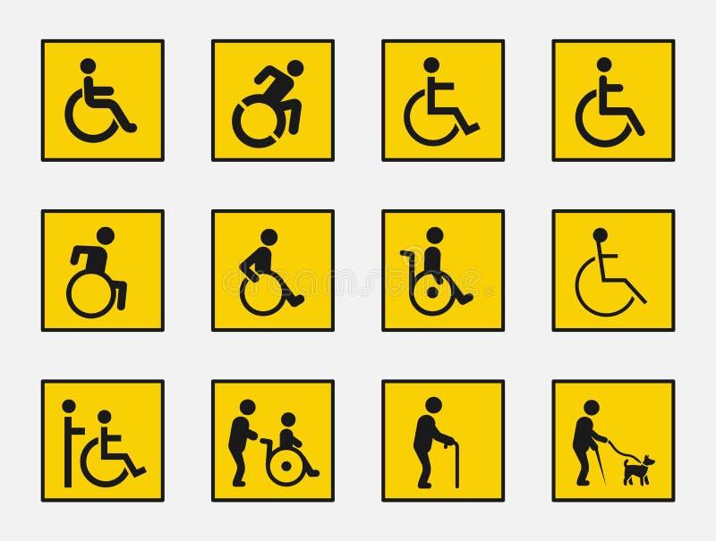 障碍标志集合,残疾象 向量例证