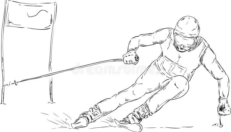 障碍滑雪种族 库存例证