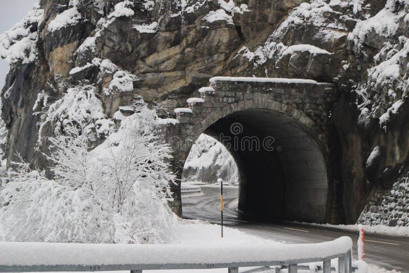 隧道在Landwasser,西班牙 免版税库存图片