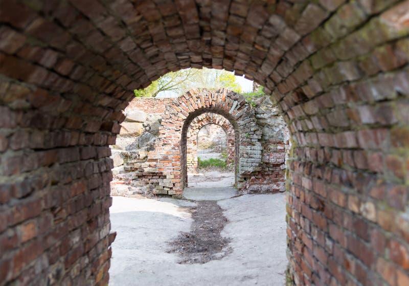 隧道曲拱大厦破坏与水泥地板,地下墓穴的片段的砖瓦房 免版税库存图片