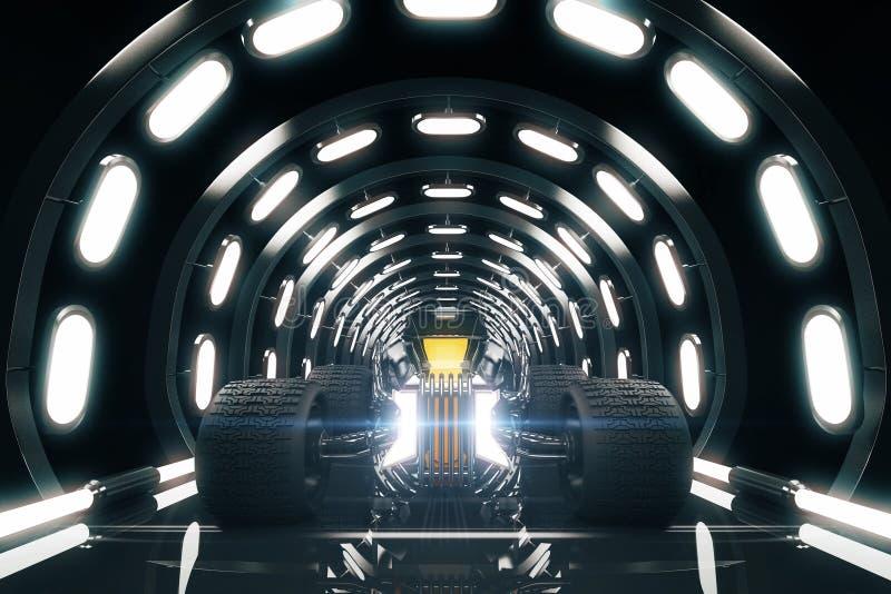 隧道的旧车改装的高速马力汽车 皇族释放例证