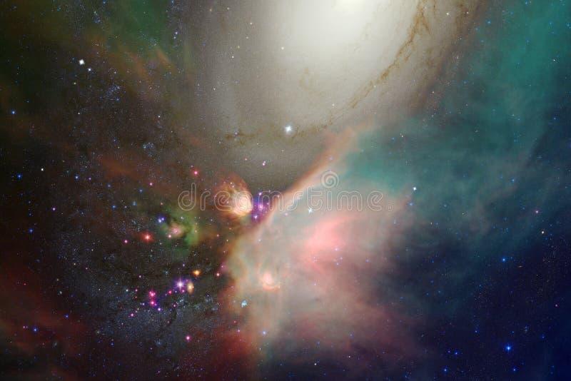 难以置信地某处美丽的星系在外层空间 科幻墙纸 库存例证