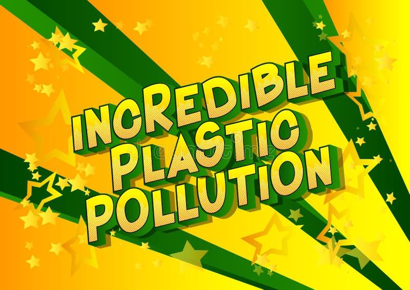 难以置信的塑料污染-漫画样式词 库存例证