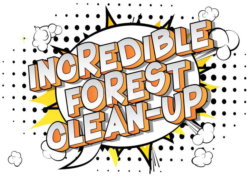 难以置信的森林清洁-漫画样式词 向量例证