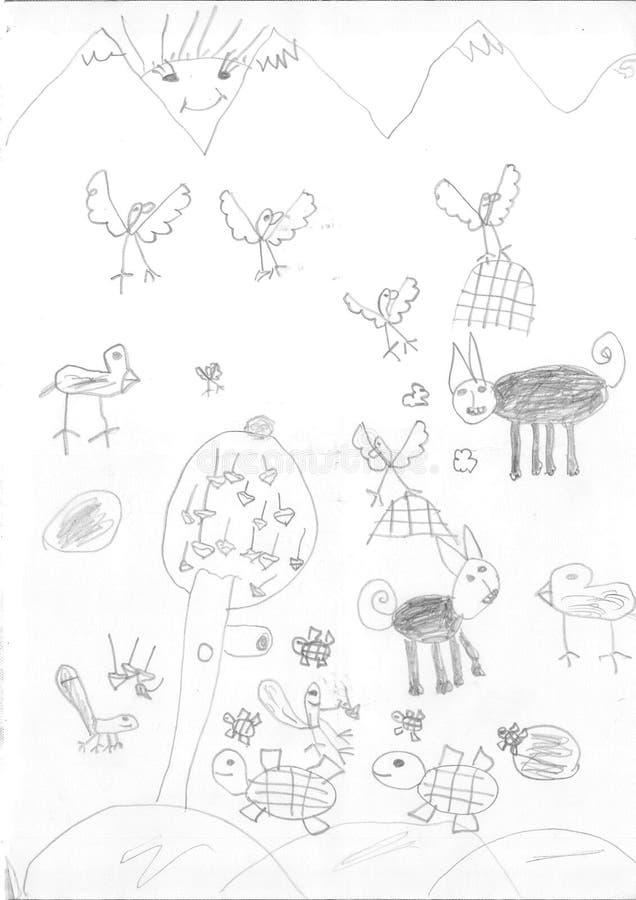 难民女孩的图画 免版税库存图片