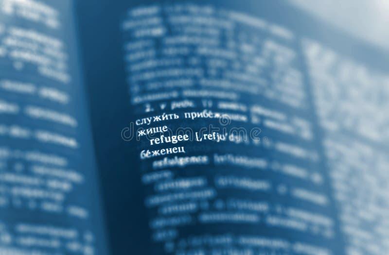 难民定义在字典页的词文本 俄语 图库摄影
