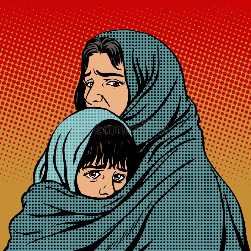难民母亲和儿童迁移贫穷 向量例证